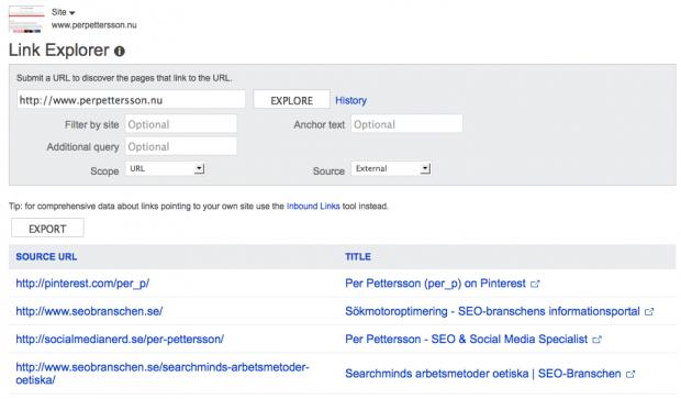 Link Explorer i Bing Webmaster Tools