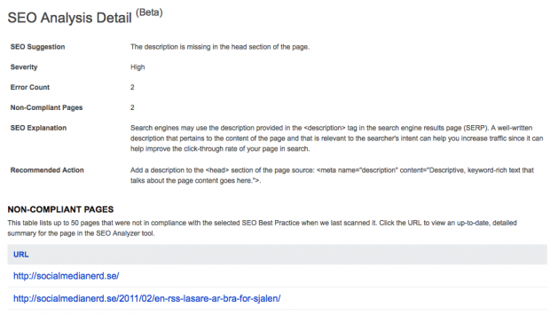 SEO-rapport från Bing om Meta Descriptions