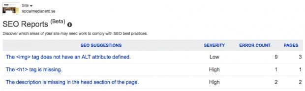 SEO Rapporter i Bing Webmaster Tools