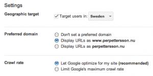 Inställningar i Google Webmaster Tools