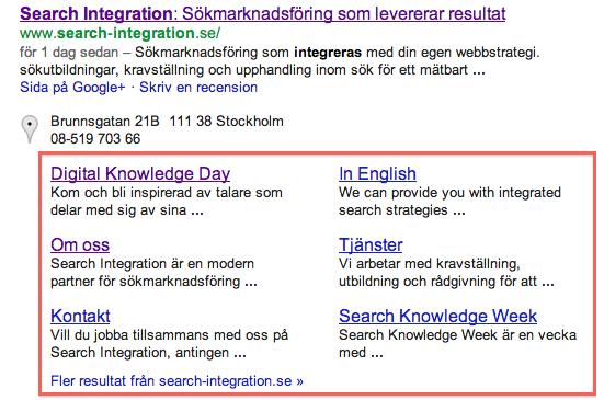 Webbplatslänkar i sökresultatet