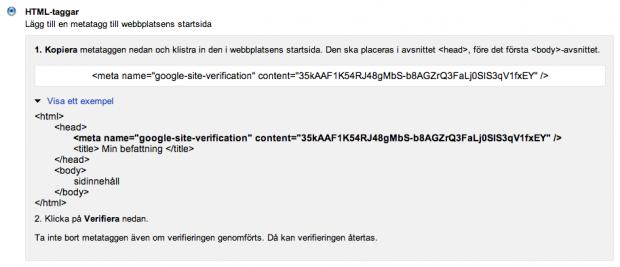 Verifiera din webbplats med HTML-tagger
