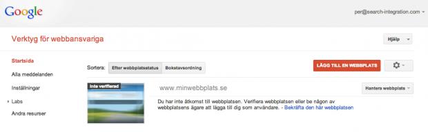 Ej verifierad webbplats i WMT