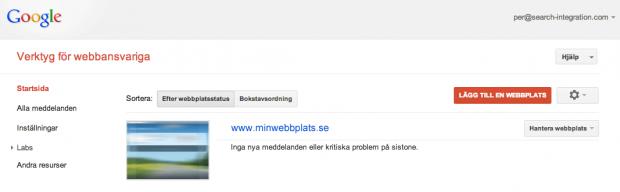 Webbplats i Google Webmaster Tools