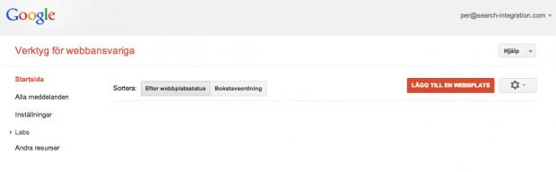 När du loggar in i Google Webmaster Tools för första gången
