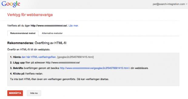 Verifieringsmetoder i Google Webmaster Tools för din webbplats