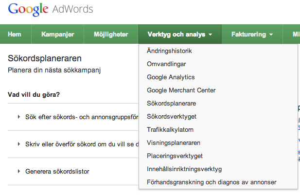 Sökordsplaneraren ersätter Google Keyword Tool