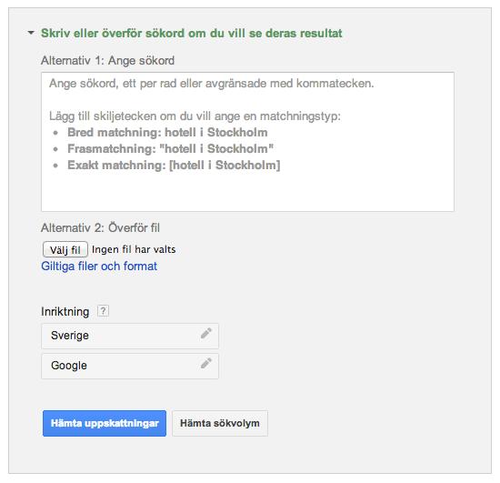 Sökordsval i Googles Sökordsplanerare