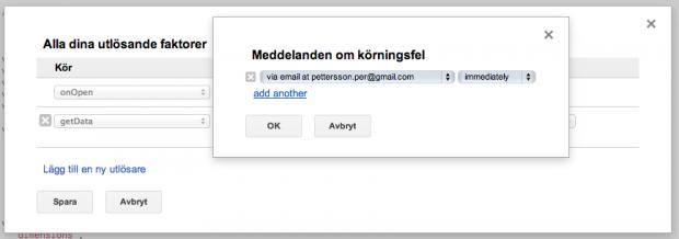 Få ett meddelande om Google Analytics skriptet felar