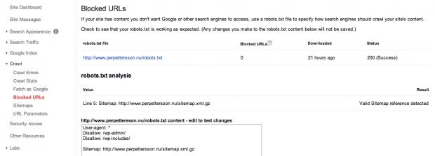 Blockera sidor och URLer med Webmaster Tools