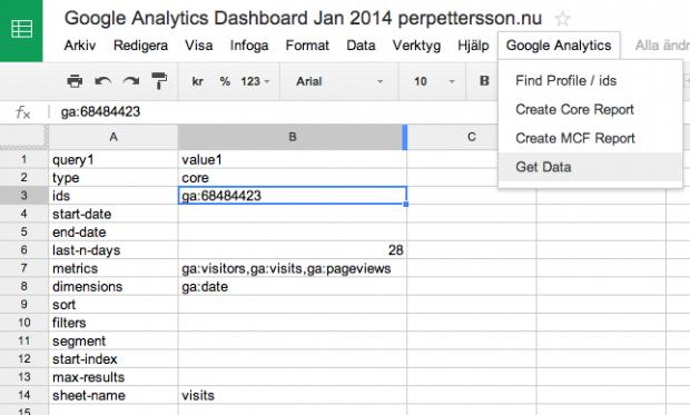 Hämta datan från Google Analytics in i kalkylarket