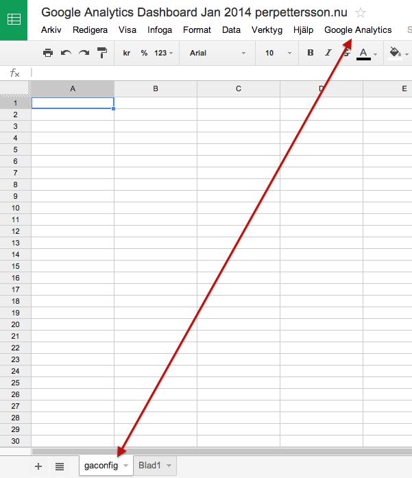 Google Analytics-funktioner i Drive efter aktiverat skript
