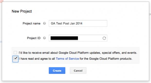 Skapa ett projekt i Google Cloud Console