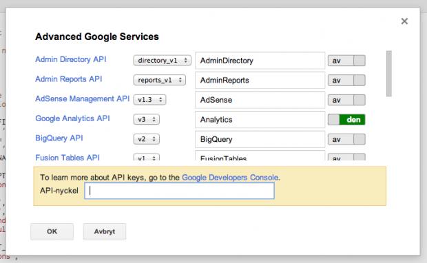 Inställningar i skriptet för att hantera Google Analytics datan
