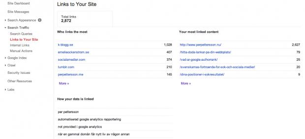 Länkar in till webbplatsen i Google Webmaster Tools