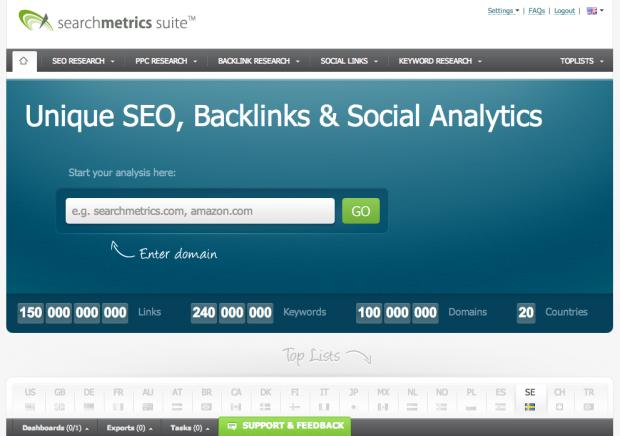 SearchMetrics gratis SEO-verktyg