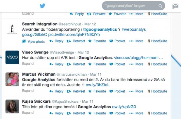 Bevaka intresse på Twitter - Google Analytics