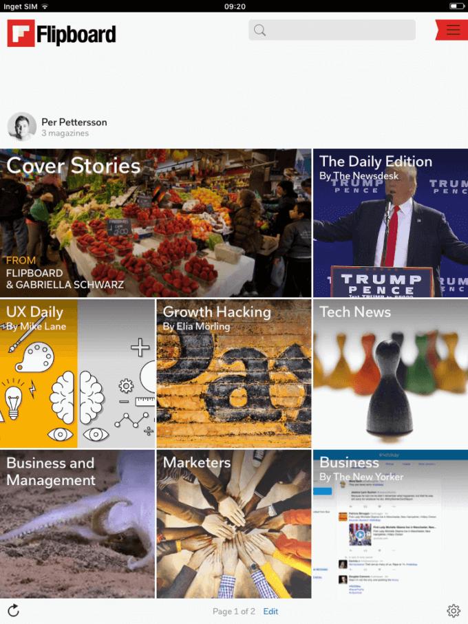 Flipboard - omslaget och egna nyhetsflöden