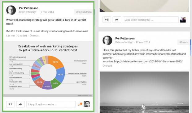 Google+ post vi vill se antal visningar från