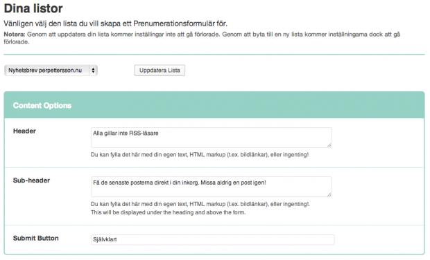 Dina MailChimp-listor i WordPress för nya prenumeranter