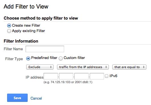 Skapa ett filter med IP-nummer i Analytics