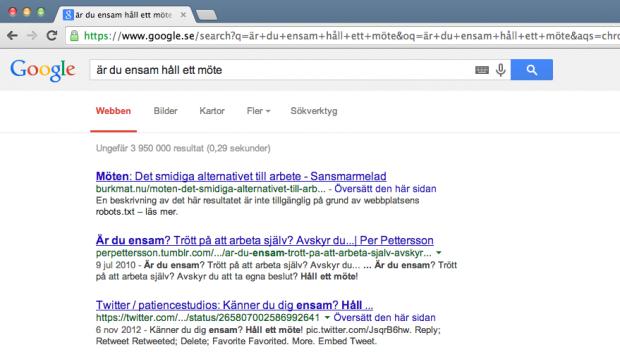 Inkognitosökning i Chrome på Google