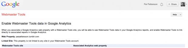 Google Webmaster Tools-konton att länka till Analytics