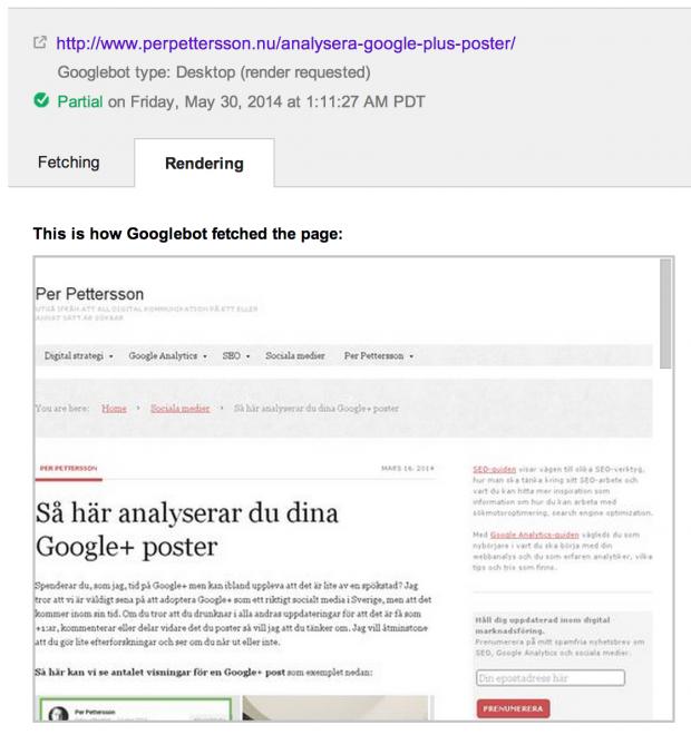 Google hämtar sajten och renderar den
