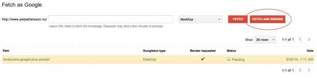 """Uppdaterad """"Hämta som Google"""" i Webmaster Tools"""