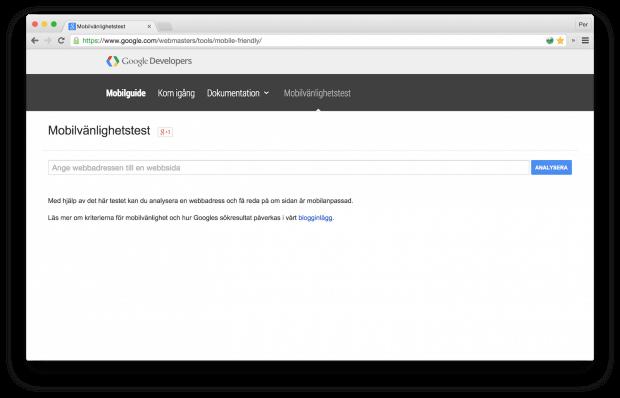 Googles verktyg för mobilanpassad hemsidan