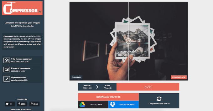 Compressor.io för att komprimera bilder i webbläsaren
