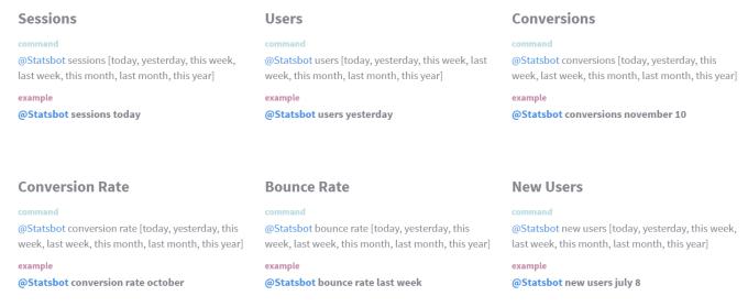 Statsbot tillgängliga metrics