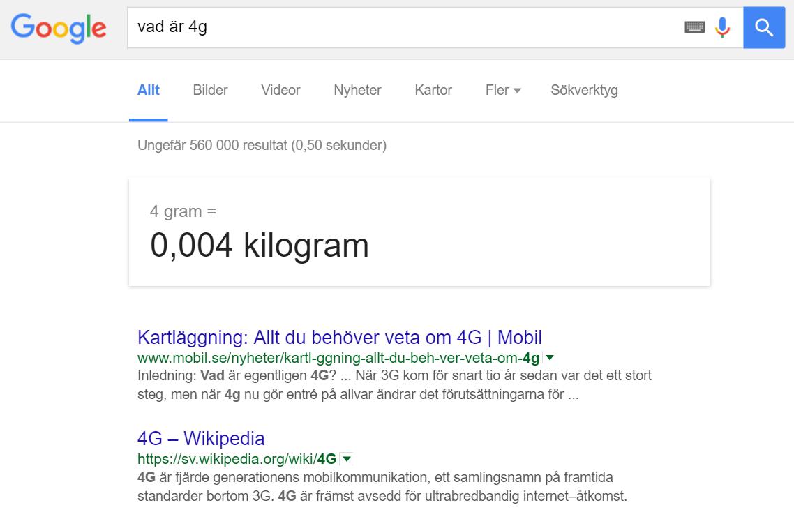 """Googlesökningen """"vad är 4g""""."""