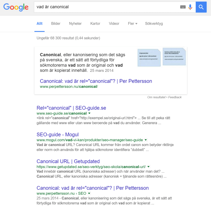 """Googlesökningen """"vad är canonical""""."""