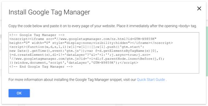 Google Tag Manager scriptet