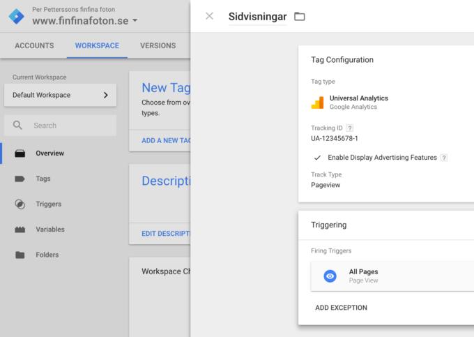 Google Tag Manager-tagg för sidvisningar