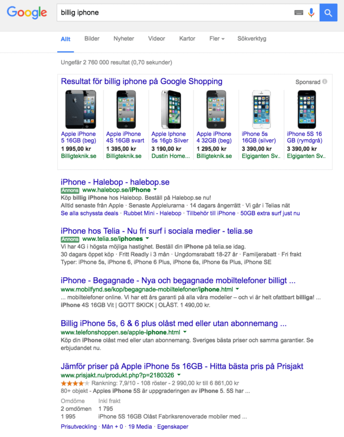 Googlesökning på billig iphone