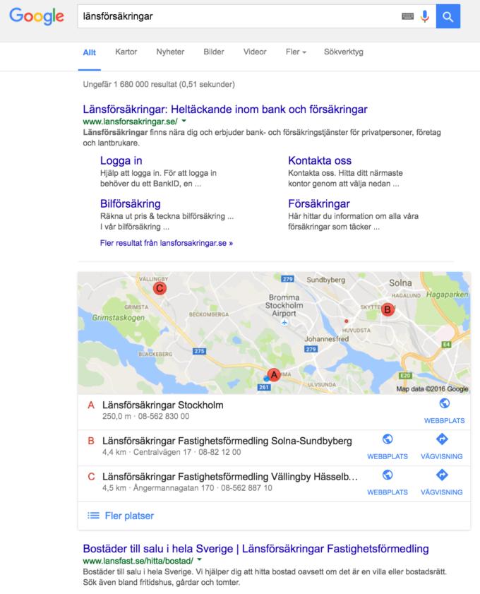"""Googlesökningen """"länsförsäkringar"""""""