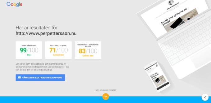 Googles mobiltest av sajter