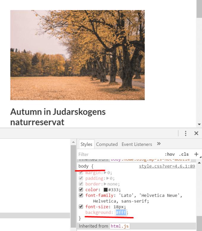 Justera bakgrundsfärgen direkt i Chrome